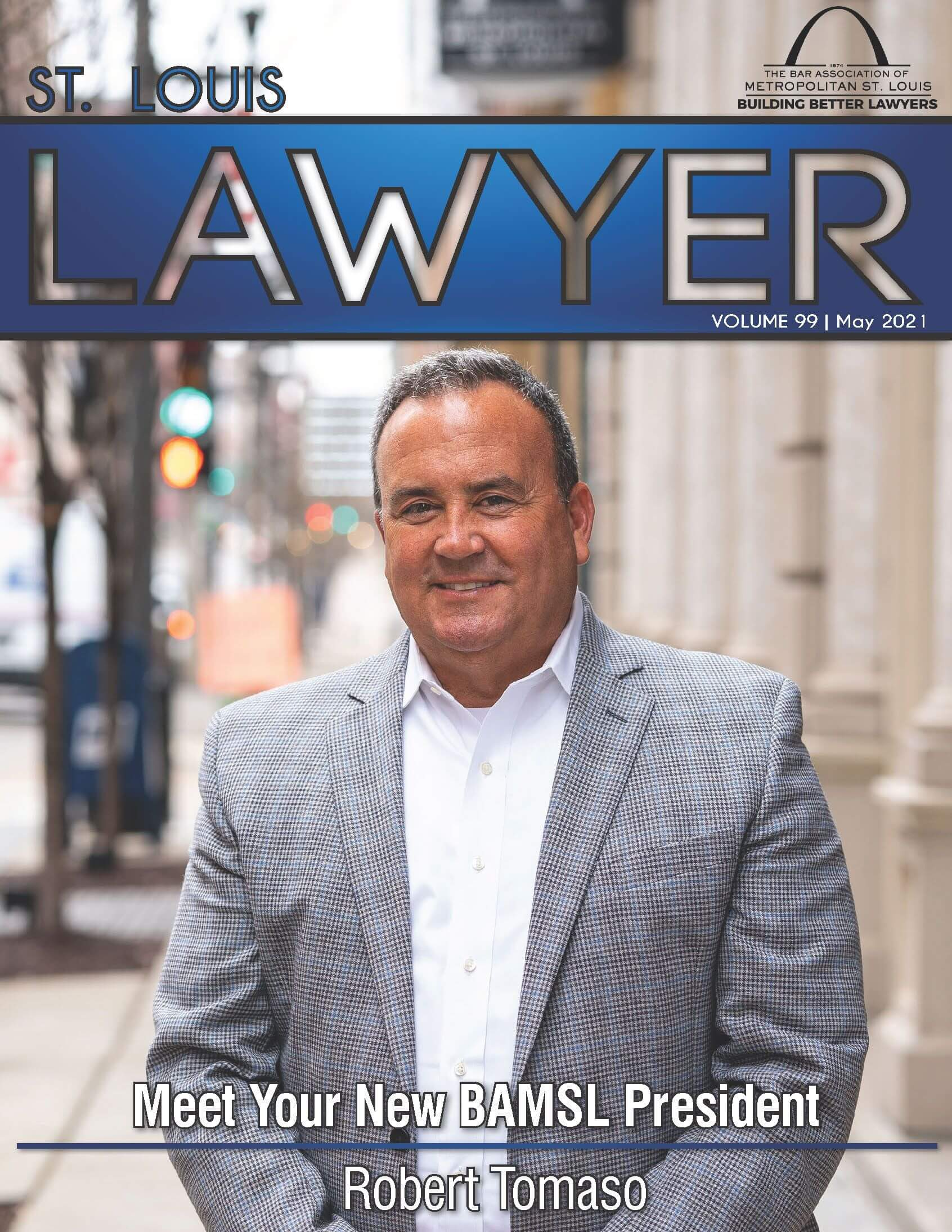 Cover photo of the May 2021 issue of the St. Louis Lawyer magazine