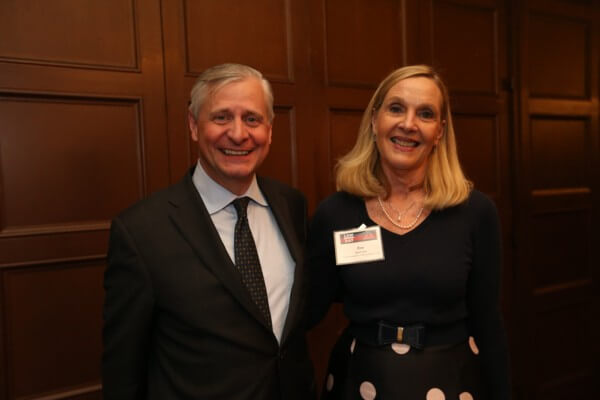 BAMSL Executive Director Zoe Linza with BAMSL's 2019 Law Day speaker, Jon Meacham. Photo by William Greenblatt.