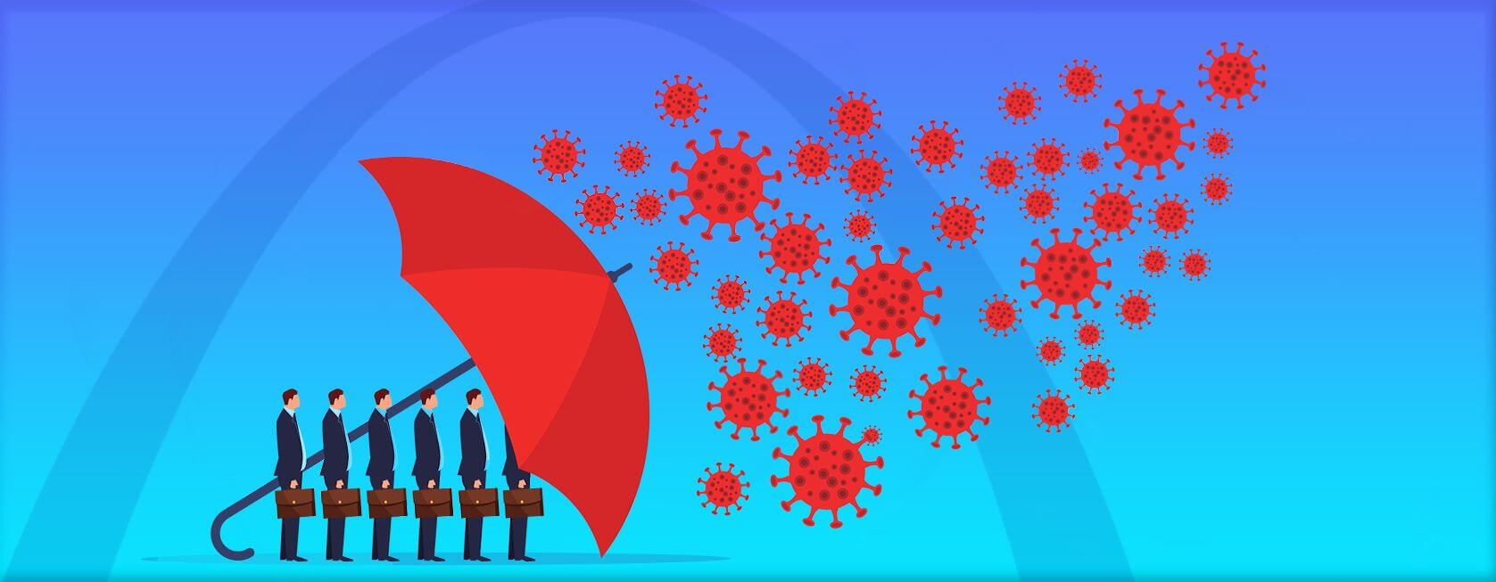 Image of business people shielded from viruses by an umbrella