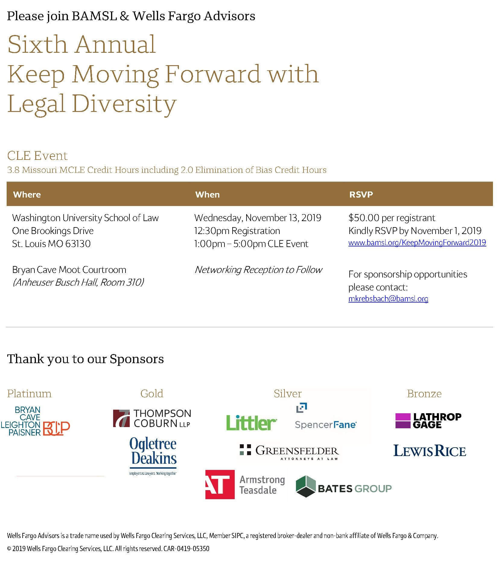 2019 Keep Moving Forward with Legal Diversity CLE flyer
