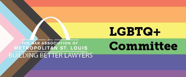 LGTBQ inclusive banner with text: LGBTQ+ Committee