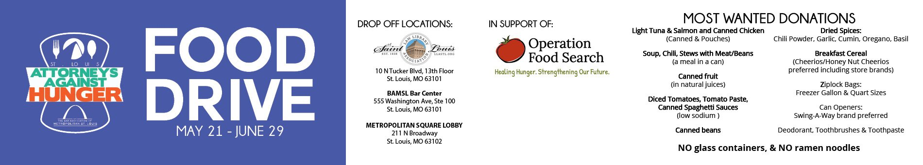 Join St. Louis Attorneys Against Hunger in its food drive to support Operation Food Search, May 21 through June 29